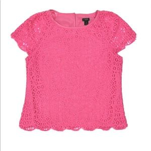 J Crew Outlet Pink Lace Scalloped Edge SS Blouse